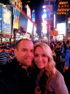 Phoebe and Matt in Times Square, New York - food heaven!
