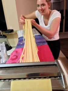 Making our own pasta.