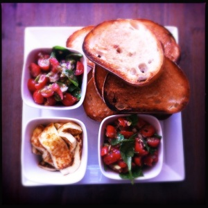 Bruschetta and grilled haloumi, a home-made lunch with Matt
