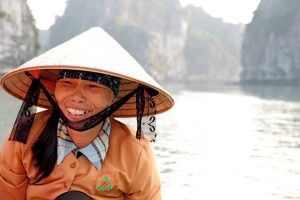 A local woman from the floating village