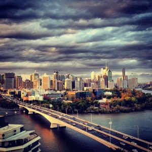 A photo I took of Brisbane City - I can see my beloved office building! yay!