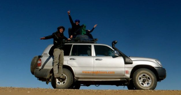 Hurtling through the desert on the roof of the car