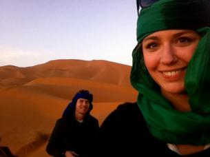 Riding camels through the Sahara desert