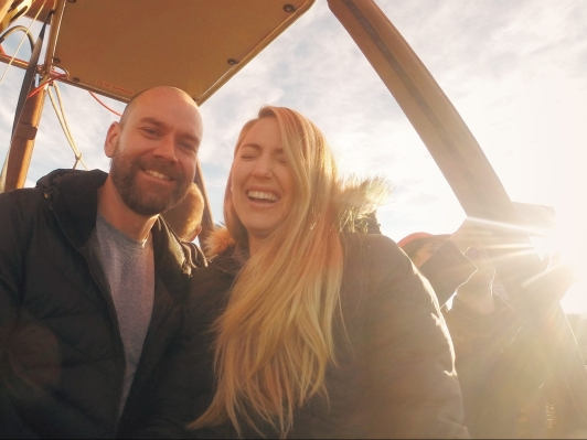 Here's a photo of Matt and I in a hot air balloon!