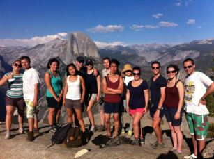 Our USA tour group at the Half Dome in Yosemite NP.