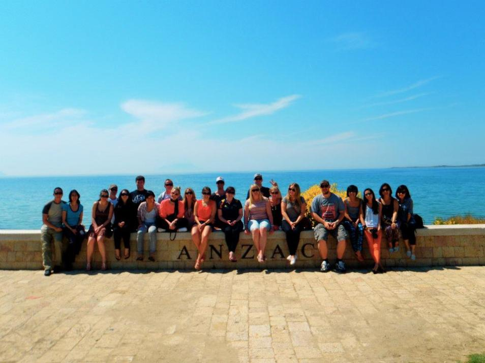 Our Turkey tour group at Anzac Cove