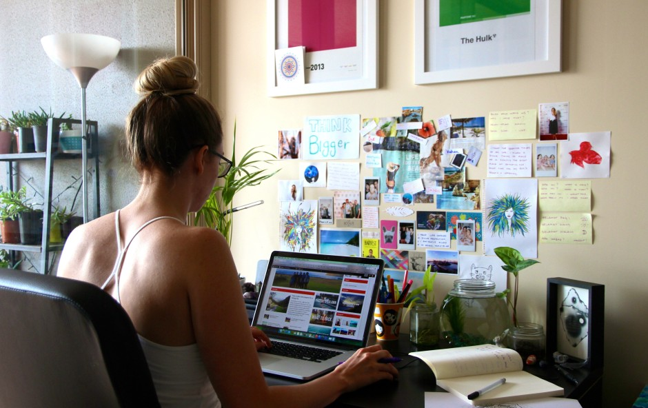 This is my little space where I write all my blog posts. Hey, look! There I am! Hard at work... I use the space behind my desk as a permanent inspiration wall.