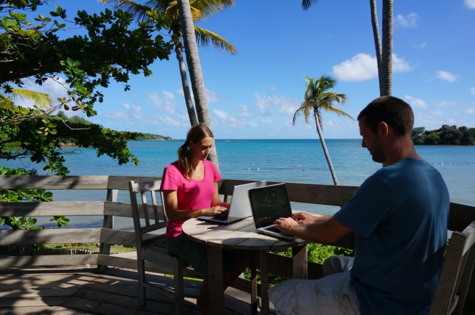 Dariece and Nick blogging in Grenada