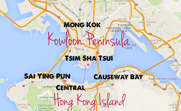 Map of Hong Kong districts and best areas to stay