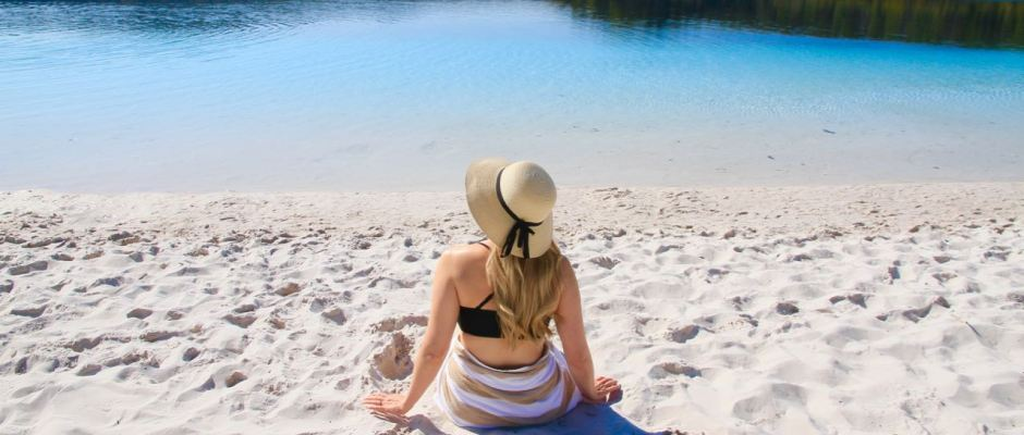 Phoebe Lee at Lake McKenzie Things to do on Fraser Island Travel Blog Australia Queensland