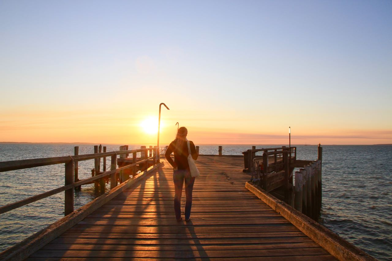 Sunset at Kingfisher Bay Resort Jetty Things to do on Fraser Island Travel Blog Australia Queensland