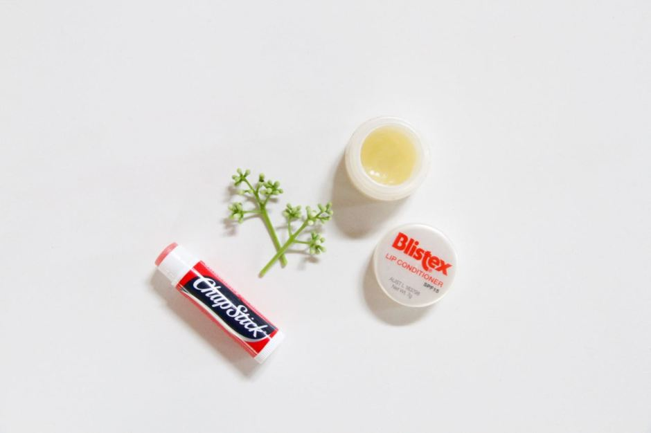 Chapstick and Blistex dry lips travel beauty favourites essentials travel blog