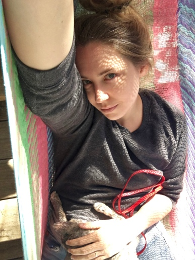 Hammock snuggles with my cat, P