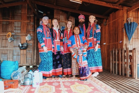 Our homestay mum was so excited to dress us up for a family photo!